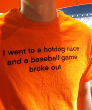 I went to a hot dog race and a baseball game broke out
