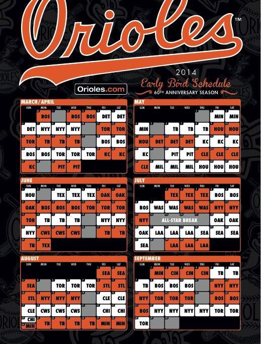 Orioles 2014 Schedule